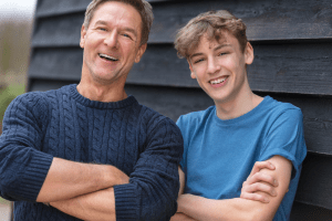 Bright Smile Father and Son after dental treatment